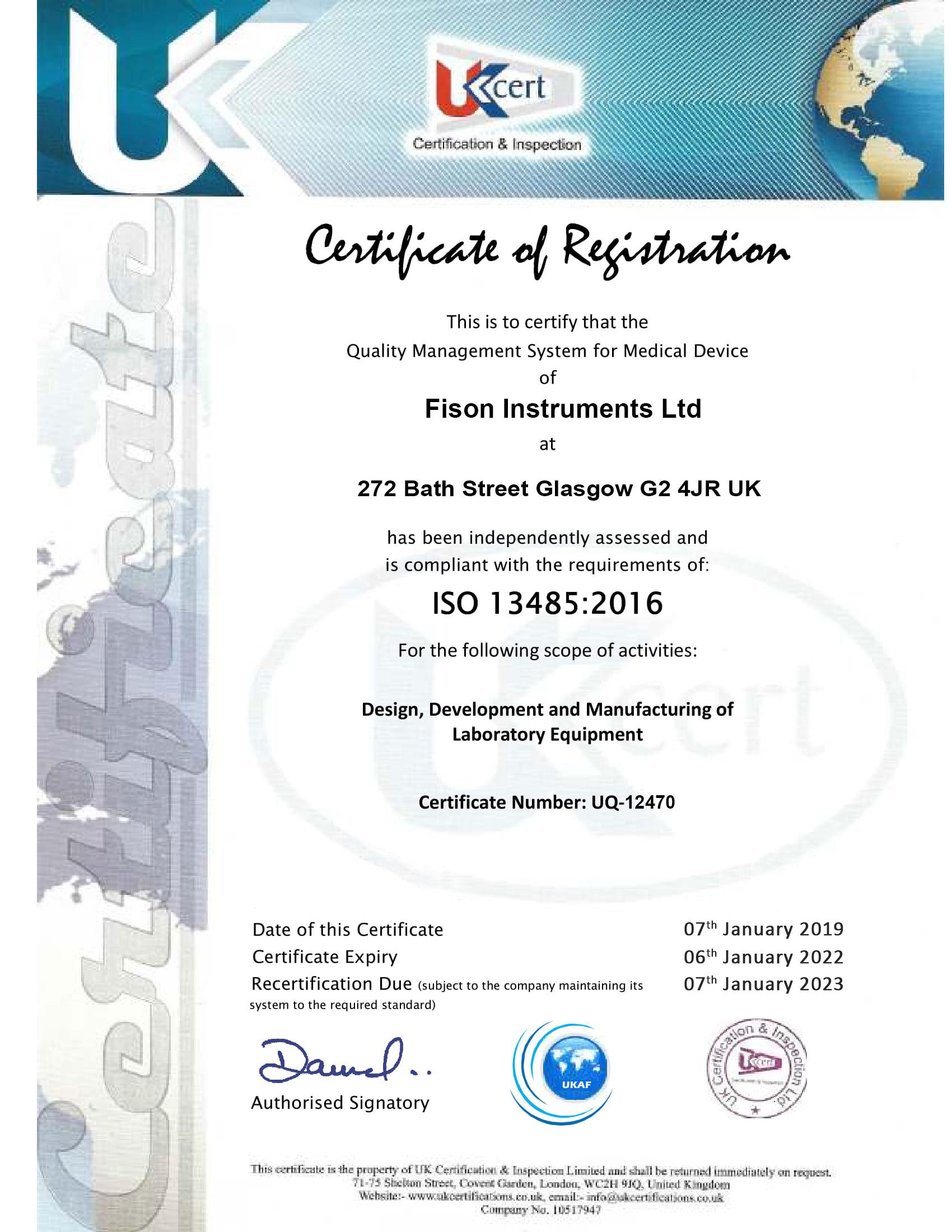 Fison Instruments Ltd 13485-UQ-12470-1